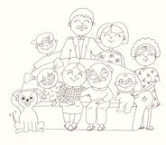 Big family. Linear illustration Royalty Free Stock Image