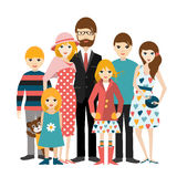 Big family with many children. Man and woman in love, relationship. Flat vector Stock Photo