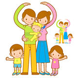 Big family Mascot love gesture. Home and Family Character Design Stock Images