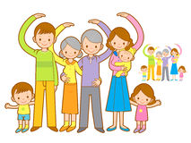 Big family Mascot love gesture. Home and Family Character Design Royalty Free Stock Photography