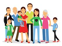 Big family, mom, dad , kids and grandparents vector Illustration Royalty Free Stock Photo