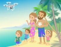 Big family mom dad and three children kids boy girl on vacation seashore ocean sea Stock Photos