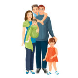 Big family mother, father, baby boy, toddler girl, teenager son. Royalty Free Stock Images