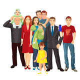 Big family mother, father, baby boy, toddler girl, teenager son. Stock Photo