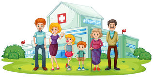 A big family near the hospital Royalty Free Stock Photo