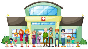 A big family outside the hospital vector illustration