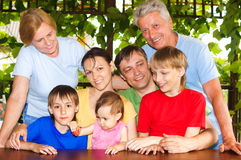 Big family portrait. Portrait of a big family at nature Stock Photography