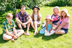 Big family relaxing in the summer park Royalty Free Stock Photography