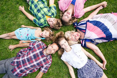 Big family relaxing in the summer park Stock Photography