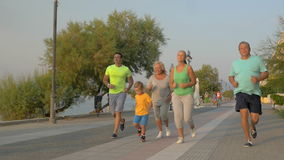 Big family running on road next to the sea. Slow motion steadicam clip of parents, grandparents and a little boy running on sea front. Happy family going in for stock footage