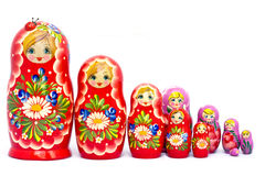 Big family of Russian nested dolls Stock Photography