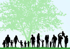 Big family silhouettes Royalty Free Stock Photo