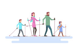 Big Family Skiing Winter Holiday Vacation Snow Sport Stock Photos