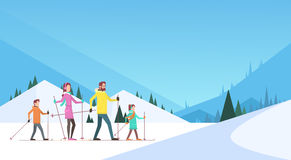 Big Family Skiing Winter Holiday Vacation Snow Sport Mountain Background Stock Images