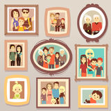 Big family smiling photo portraits in frames on wall vector illustration Stock Photography