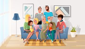 Big Family Spending Time Together at Home Vector. Happy Smiling Senior Couple Gathering Together with their Adult Children, Grandchildren and Great-Grandchildren stock illustration