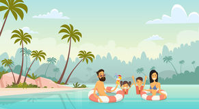 Big Family Swimming Holiday Sea Seaside Summer Vacation Parents With Two Children Royalty Free Stock Images