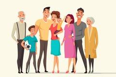 Big family taking flat vector color illustration vector illustration