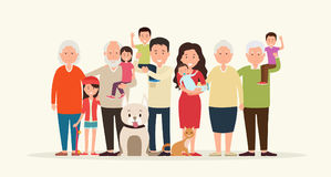 Big family together. Parents and children Stock Image