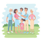 Big family together in the park. Vector illustration with flat style design Stock Image