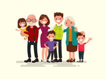 Big family together. Vector illustration. Of a flat design Stock Image