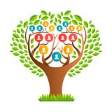 Big family tree template with people icons. Big family tree template concept with people icons and colorful green leaves for life generations history. EPS10 vector illustration