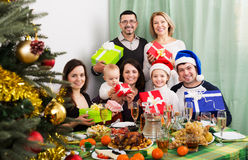 Big family with Xmas gifts Stock Photo
