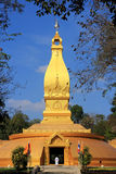 Big famous golden pagoda in Thailand. On  blue sky background Royalty Free Stock Photos