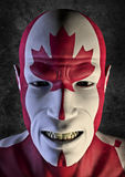 Big fan Canada. 3D render of grinning man decorated with Canadian flag Royalty Free Stock Photo
