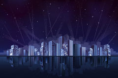 Big fantastic city at night Royalty Free Stock Photography