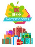 Big Fantastic Exclusive Sale Poster Discount Boxes Stock Photography
