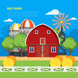 Big Farm Flat Composition Stock Photos