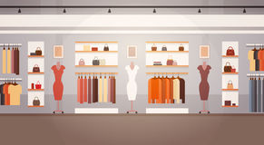 Big Fashion Shop Super Market Female Clothes Shopping Mall Interior Banner With Copy Space. Flat Vector Illustration Stock Images