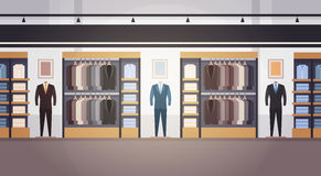 Big Fashion Shop Super Market Male Clothes Shopping Mall Interior Banner With Copy Space. Flat Vector Illustration vector illustration