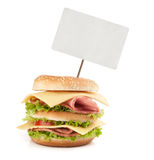 Big fast food sandwich with blank price tag Stock Photos