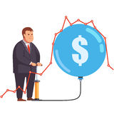 Big fat and greedy corporation business man. Pumping up a stock market bubble under a line chart graph. Market manipulation and fraud concept. Flat style vector Royalty Free Stock Photos