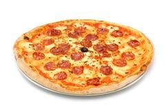 Big fat italian salami pizza Stock Images