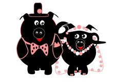 A BIG FAT PIGGY WEDDING. A piggy bride and bridegroom dressed in their bridal gear - with top hat and bow tie for the bridegroom and veil, nose ring and pearls Royalty Free Stock Images