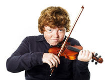 Big fat red-haired boy with small violin. Dmensions mismatch Royalty Free Stock Image