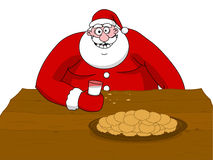 Big fat Santa Claus eating Stock Image