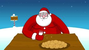 Big fat Santa Claus eating. Cookies and drinking milk royalty free illustration