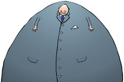 Big fat scary businessman character illustration Royalty Free Stock Photo
