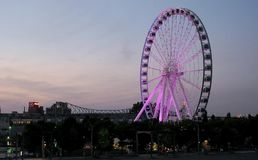 Big ferries wheel in Montreal at night stock footage