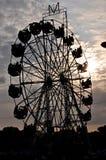 Big ferris wheel. Silhouette - big Ferris wheel on evening time Stock Photo