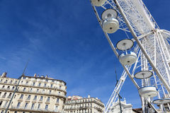 Big ferris wheel against a blue sky in Marseilles Royalty Free Stock Photo