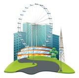 Big ferris wheel in big park. Illustration Stock Image