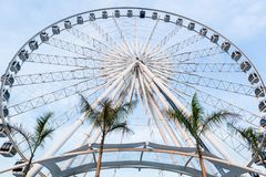 Big ferris wheel in blue sky background. At Asiatique the riverfront, Bangkok stock photo
