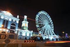 Big ferris wheel at Christmas market`s at the Kontraktova Square in Kyiv, Ukraine. Big ferris wheel at Christmas market`s at the Kontraktova Square in Kyiv royalty free stock photos