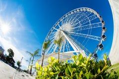 Big Ferris wheel. A big colourful ferris wheel against a deep blue sky Stock Photos