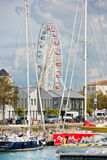 Big ferris wheel in La Rochelle port, France stock images